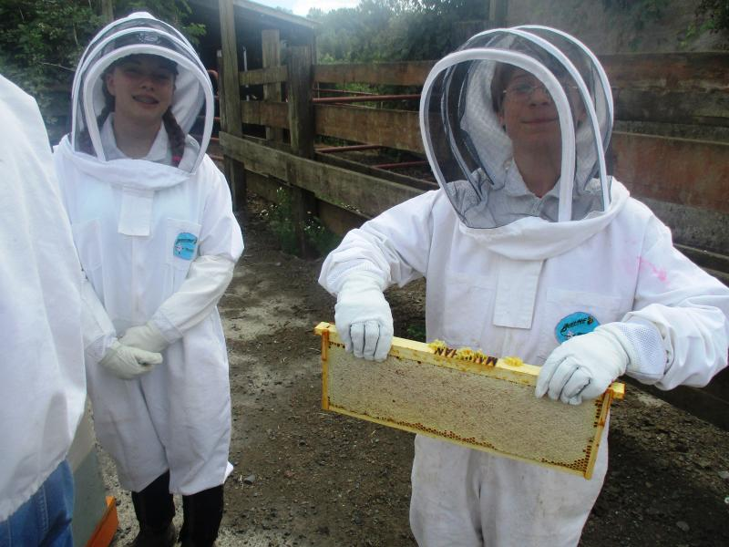 LCBA Youth Scholars Rylea Shan and Sam with nice honey frame