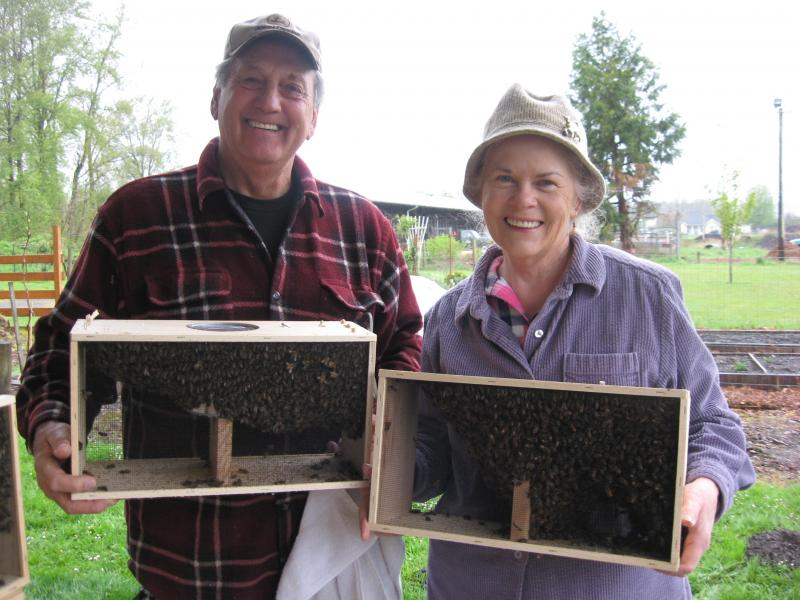 LCBA Apprentice class graduates Dennis & Joanne with their new bees