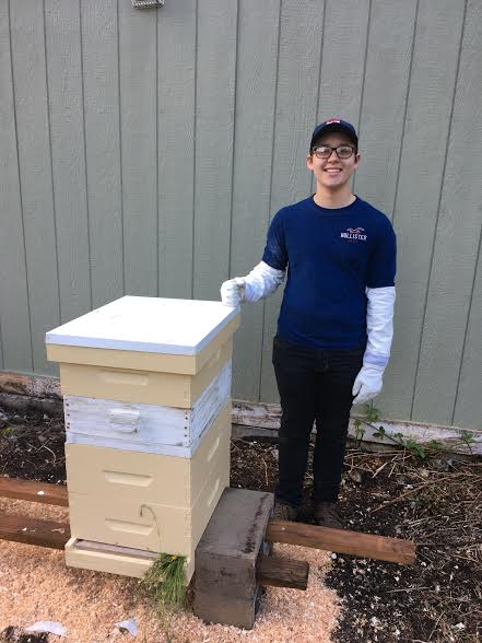 LCBA 2017 Youth Scholar Adam with his hive set up
