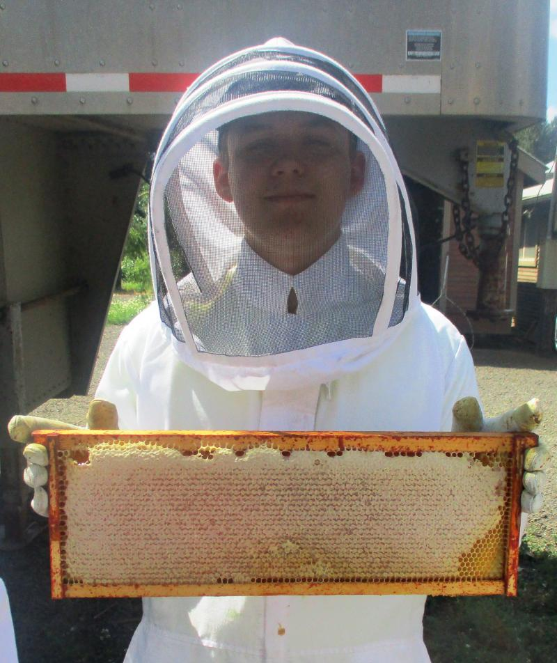 2017 Youth Scholar Adam holds up a great honey frame
