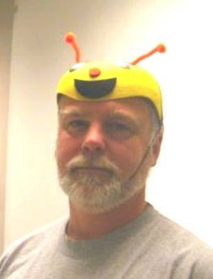 Bob Harris wearing the Bee Hat of Authority