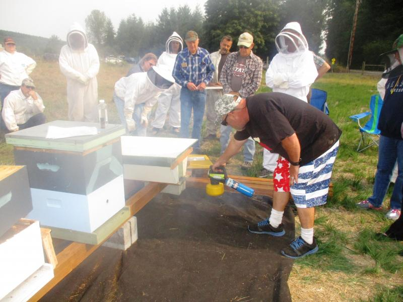 Mentor Cody Warren inserts fogger into hive to commence Varroa control