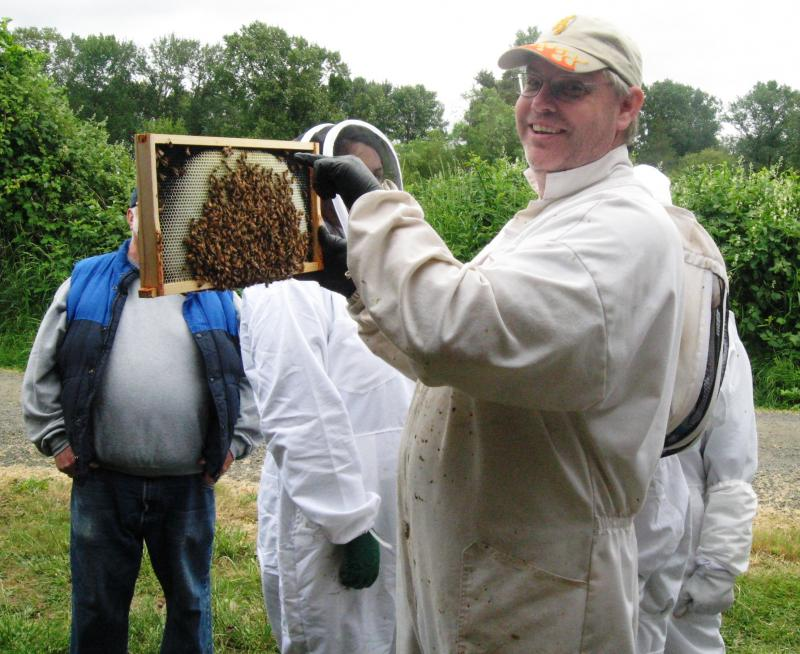 LCBA Mentorship Coordinator Dan Maughan at May 2016 hive inspection workshop