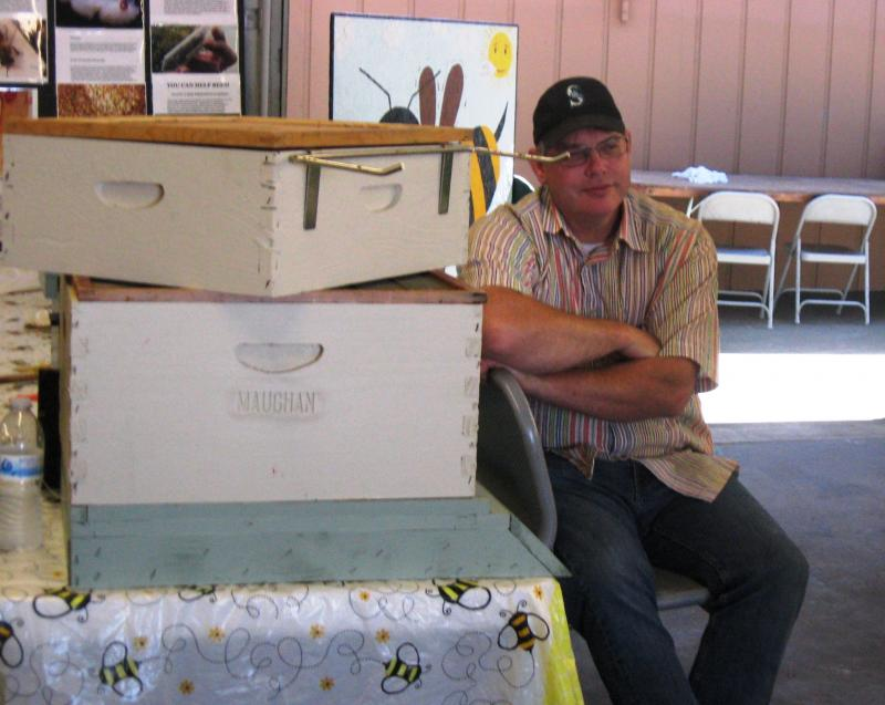 LCBA Community Outreach Coordinator Dan Maughan loaned a Langstroth hive display