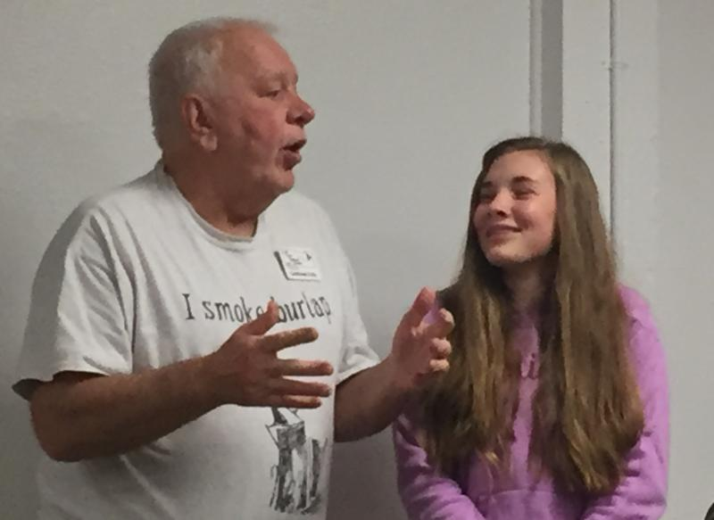 Youth Scholar Rylie with mentor Gottfried at LCBA Holiday Potluck