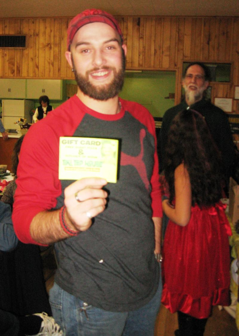 Ian Troy Switzler won a gift certificate to the Tiki Tap House in Centralia