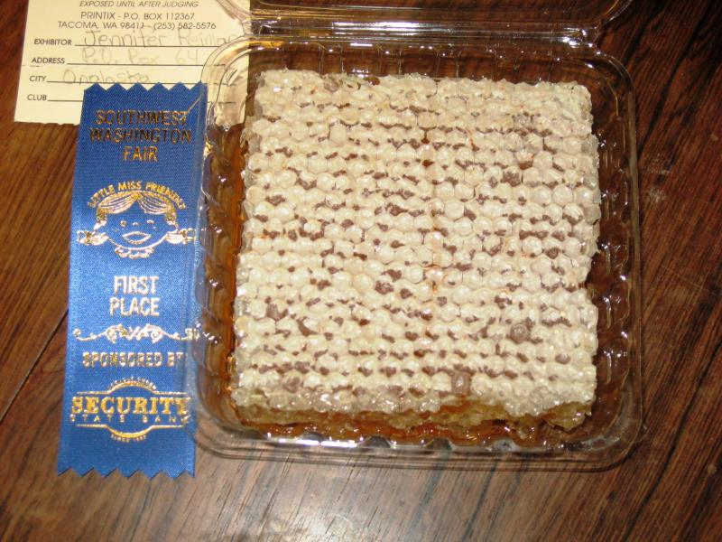 2015 Prizewinning Cut Comb Honey entered by Jennifer Reiman