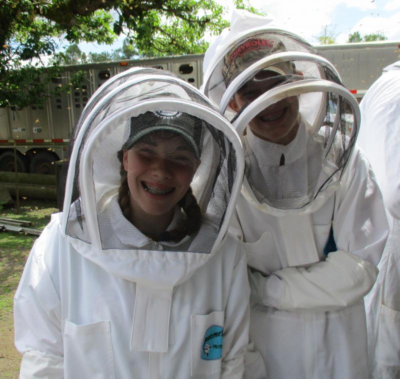 LCBA Youth Scholars Rylea Shan and Emily at the May 20 Hive Inspection Workshop